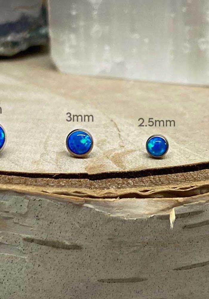 Neometal Bezel Cabochon Titanium Capri Blue Opal Threadless