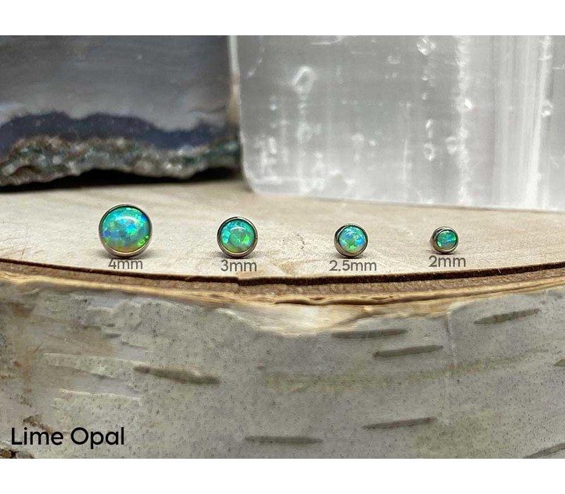 Neometal Bezel Cabochon Titanium Lime Opal Threadless
