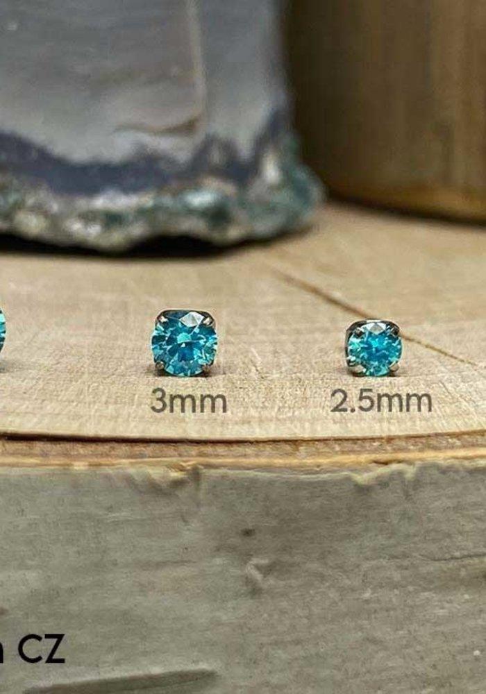 Neometal Prong Gem Titanium Mint Green CZ Threadless