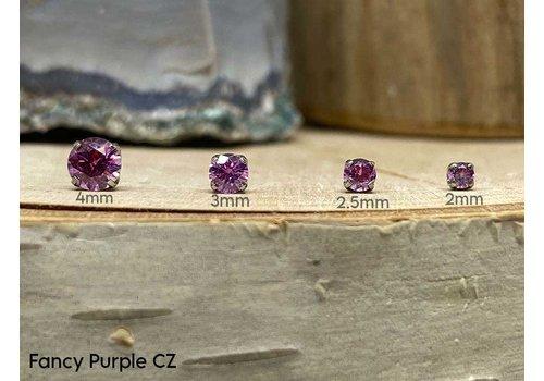 NeoMetal Neometal Prong Gem Titanium Fancy Purple CZ Threadless
