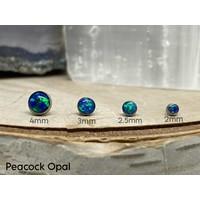 Neometal Bezel Cabochon Titanium Peacock Opal Threadless