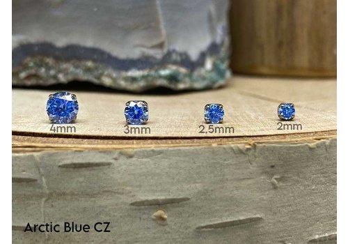 NeoMetal Neometal Prong Gem Titanium Arctic Blue CZ Threadless