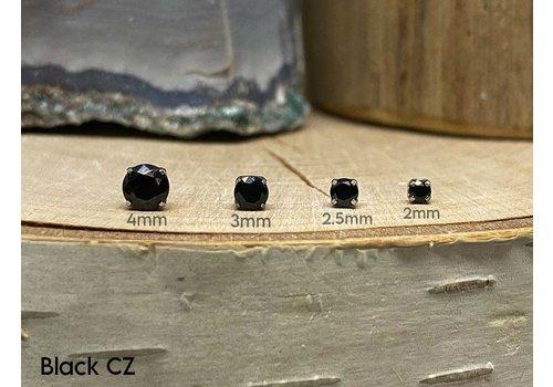NeoMetal Neometal Prong Gem Titanium Black CZ Threadless
