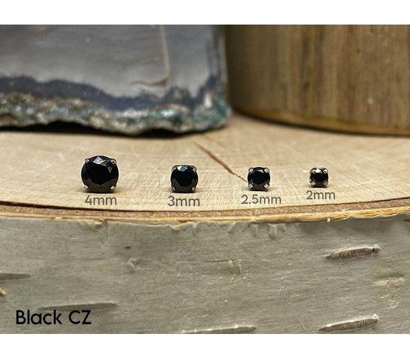 Neometal Prong Gem Titanium Black CZ Threadless