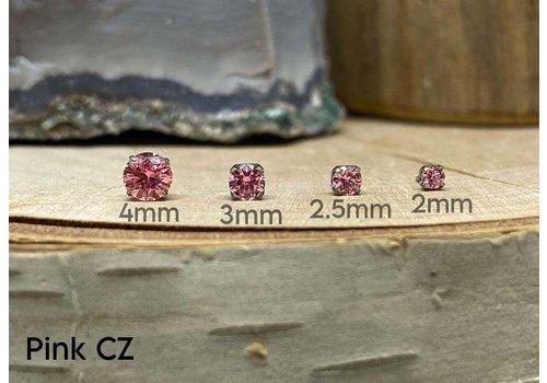 NeoMetal Neometal Prong Gem Titanium Pink CZ Threadless