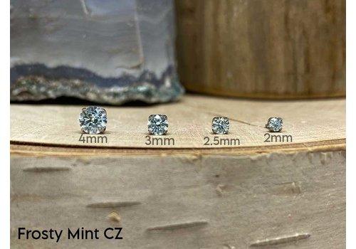 NeoMetal Neometal Prong Gem Titanium Frosty Mint CZ Threadless