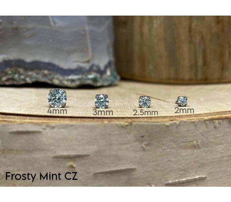 Neometal Prong Gem Titanium Frosty Mint CZ Threadless