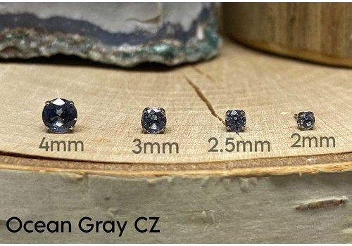 NeoMetal Neometal Prong Gem Titanium Ocean Gray CZ Threadless