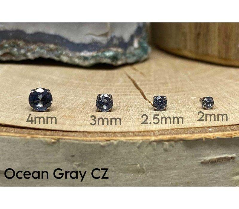 Neometal Prong Gem Titanium Ocean Gray CZ Threadless