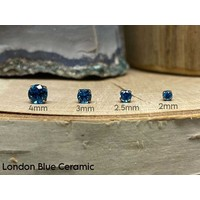Neometal Prong Gem Titanium London Blue Ceramic CZ Threadless