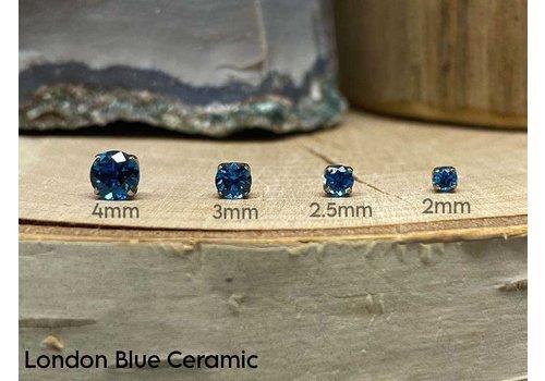 NeoMetal Neometal Prong Gem Titanium London Blue Ceramic CZ Threadless
