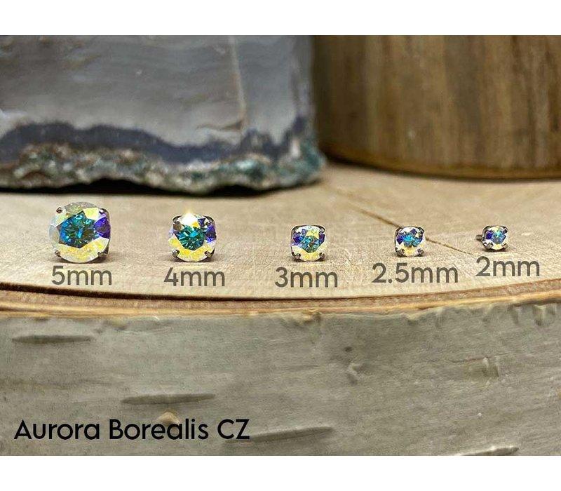 Neometal Prong Gem Titanium Aurora Borealis (AB) CZ Threadless