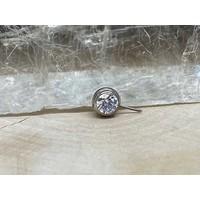 Neometal Nipple Side Gem Titanium 4mm White CZ Threadless