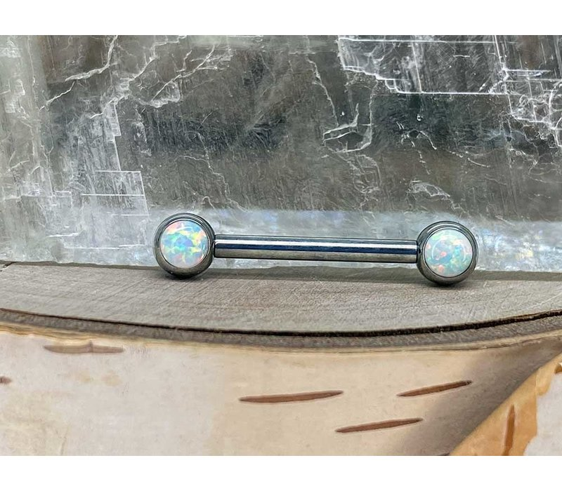 Neometal Nipple Side Gem Titanium 4mm White Opal Threadless