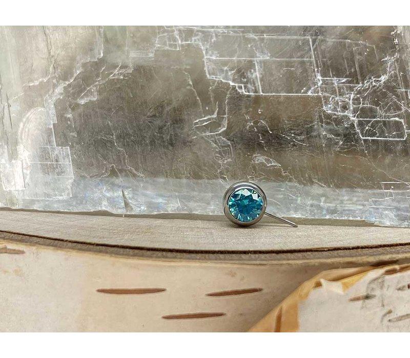Neometal Nipple Side Gem Titanium 4mm Mint Green CZ Threadless