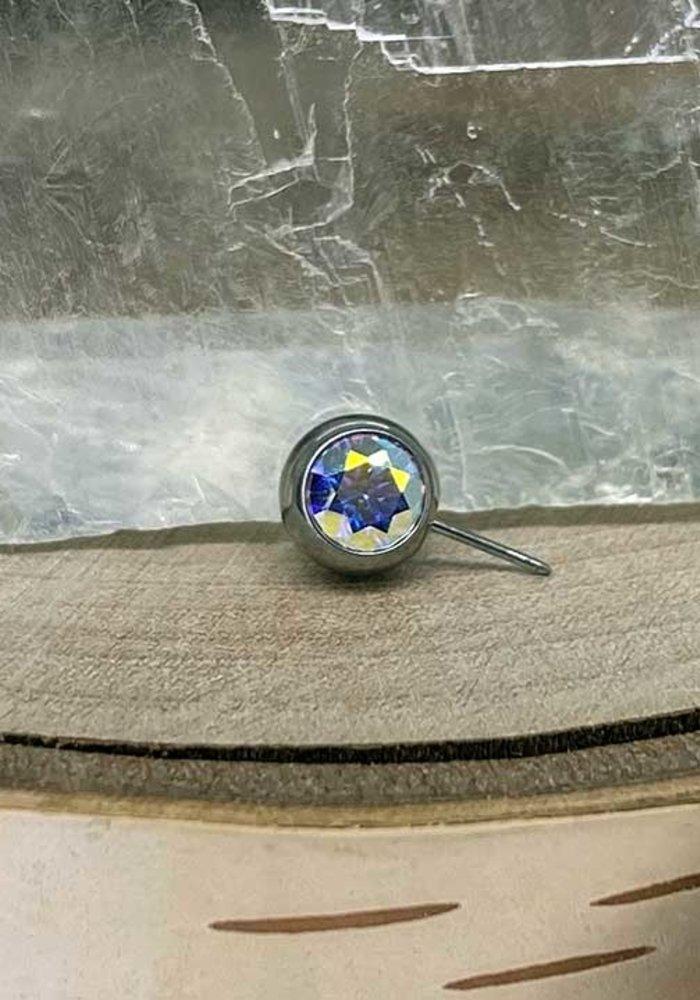 Neometal Nipple Side Gem Titanium 4mm Aurora Borealis (AB) Threadless