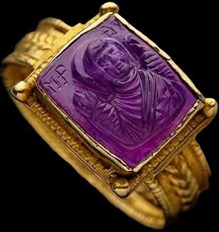 Carved amethyst ring, ca.110 (found on pinterest)
