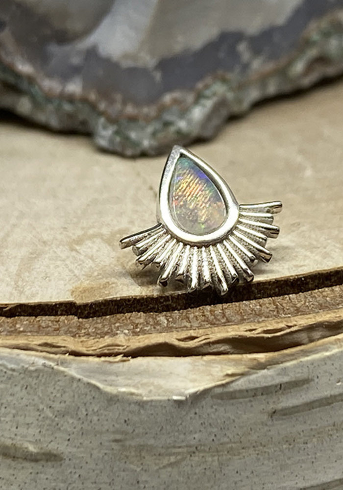 Tawapa Nightfall 14k White Gold with Genuine White Opal Threadless