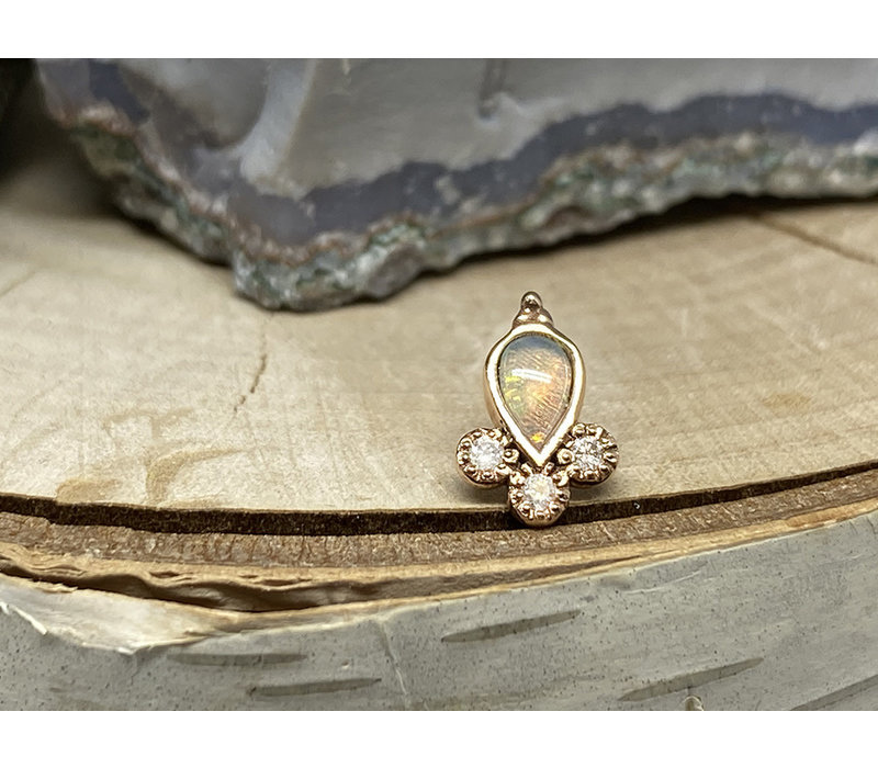 Tawapa Comet 14k Rose Gold with Genuine White Opal and White Diamond Threadless