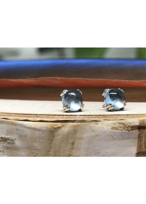BVLA BVLA Round Cabochon Prong Set Aquamarine 14K White Gold 4mm Threadless