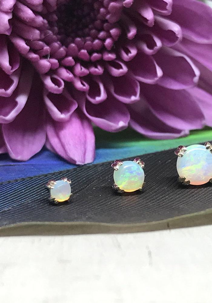 BVLA Round Cabochon Prong Set White Opal AAA Threadless