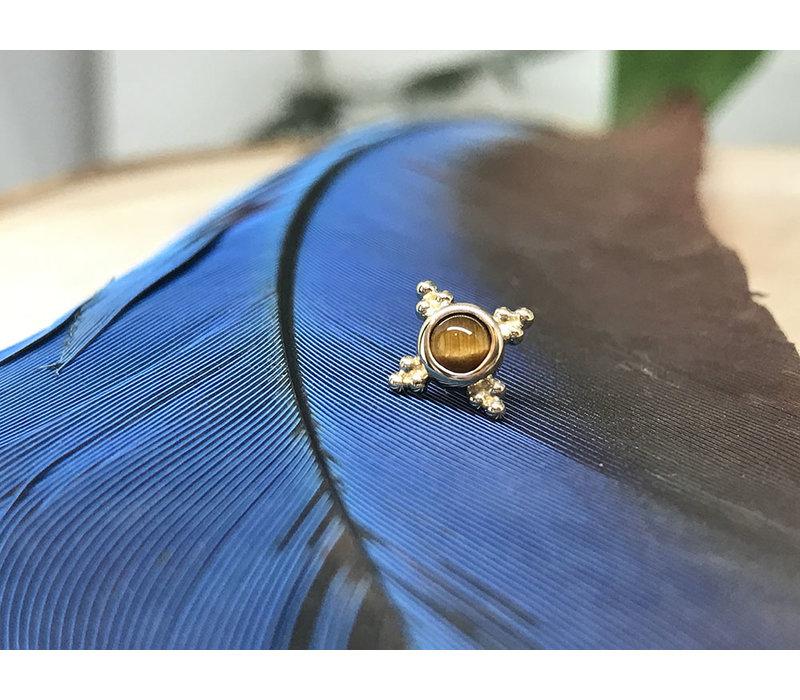 BVLA Mini Kandy 6mm 14k Yellow Gold with 3mm Tigers Eye Bezel Threadless