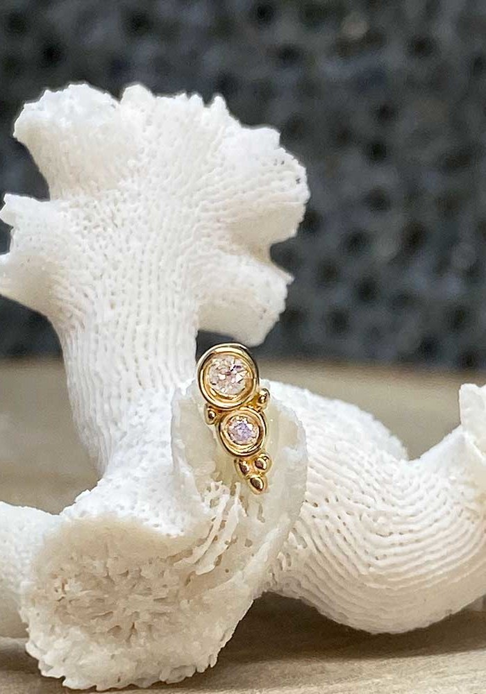 Tawapa Prophecy Yellow Gold with (1) 2mm & 1.5mm Round White Diamond Threadless