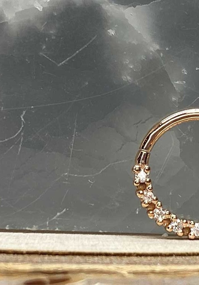 "Tawapa Infinite Solid 14k Rose Gold with White Diamonds 18g 5/16"" Seam Ring"
