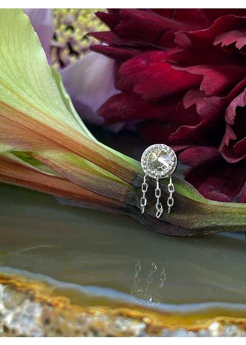 Buddha Jewelry Organics Buddha Jewelry Rebel Rebel  Solid White Gold with White CZ and Chains Threadless