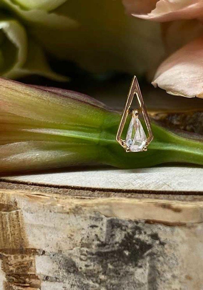 Buddha Jewelry Organics ArtHaus Rose Gold with White CZ Threadless