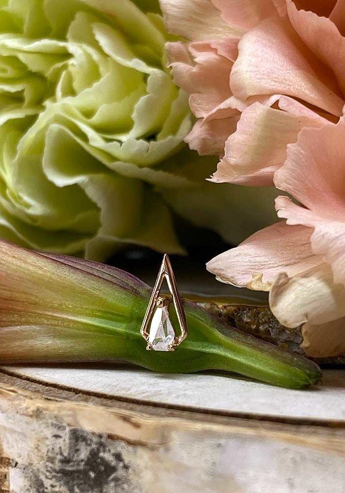 Buddha Jewelry ArtHaus Rose Gold with White CZ Threadless