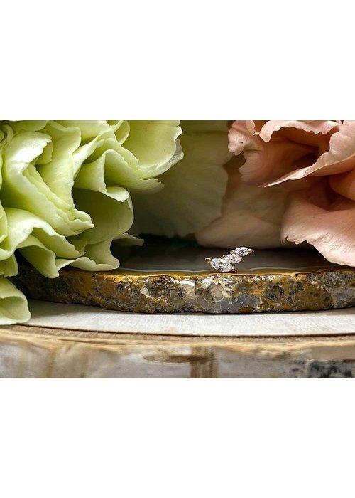 Buddha Jewelry Organics Buddha Jewelry Multiplicity Rose Gold with White CZ Threadless