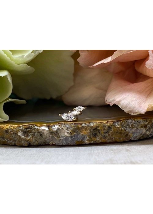Buddha Jewelry Organics Buddha Jewelry Multiplicity Yellow Gold with White CZ Threadless