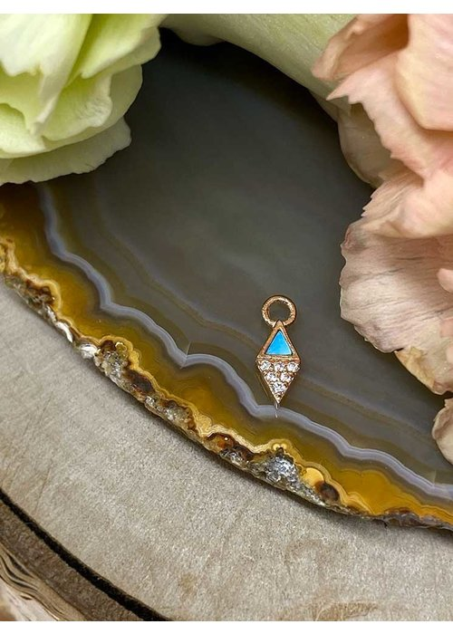 Buddha Jewelry Organics Buddha Jewelry Organics Almost Famous 14k Rose Gold with Turquoise and White CZ Charm