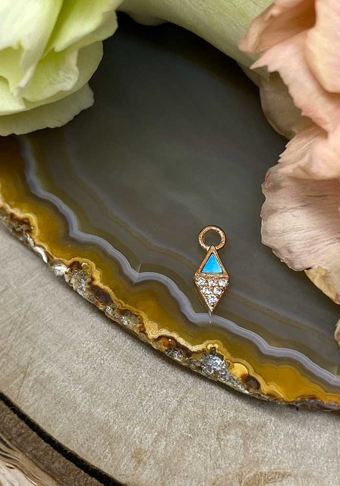 Buddha Jewelry Organics Almost Famous 14k Rose Gold with Turquoise and White CZ Charm
