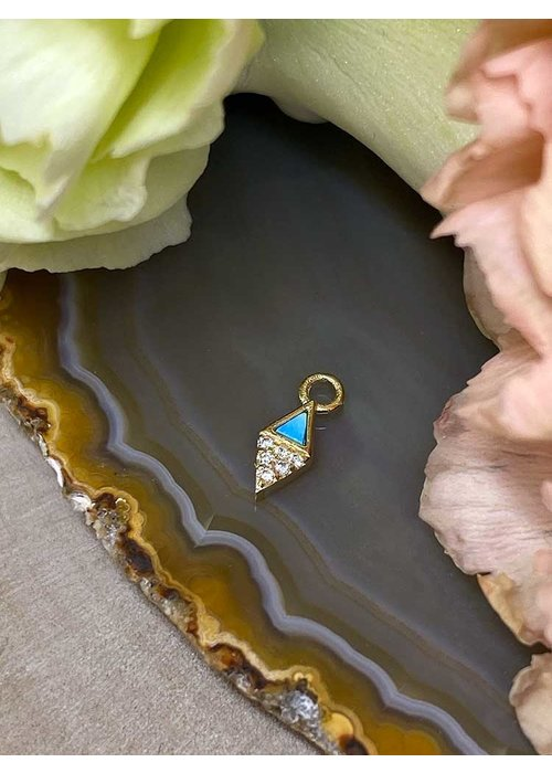 Buddha Jewelry Organics Buddha Jewelry Organics Almost Famous 14k Yellow Gold with Turquoise and White CZ Charm