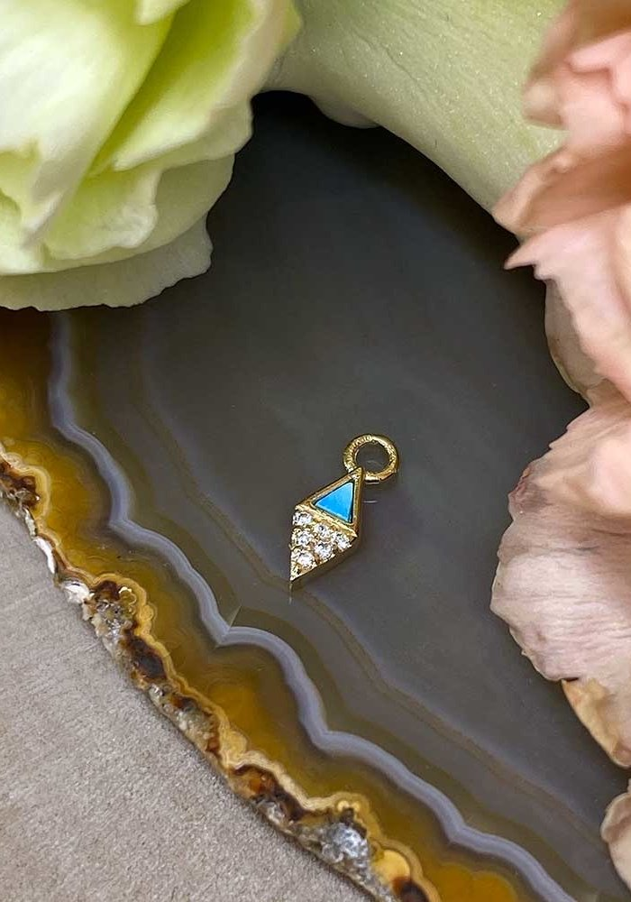 Buddha Jewelry Organics Almost Famous 14k Yellow Gold with Turquoise and White CZ Charm