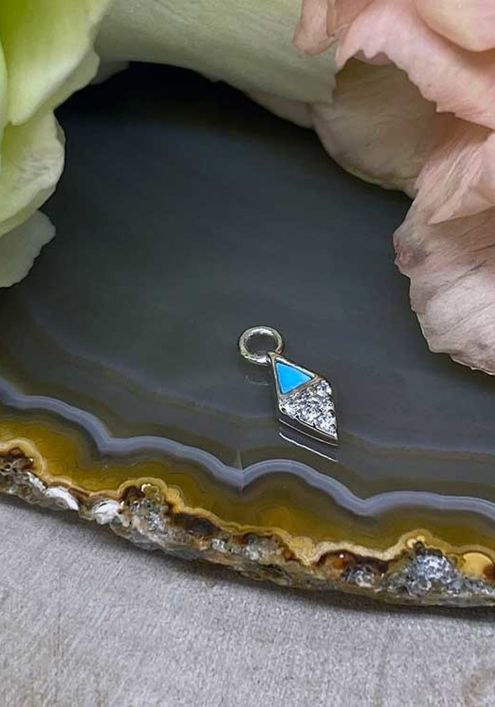 Buddha Jewelry Organics Almost Famous 14k White Gold with Turquoise and White CZ Charm