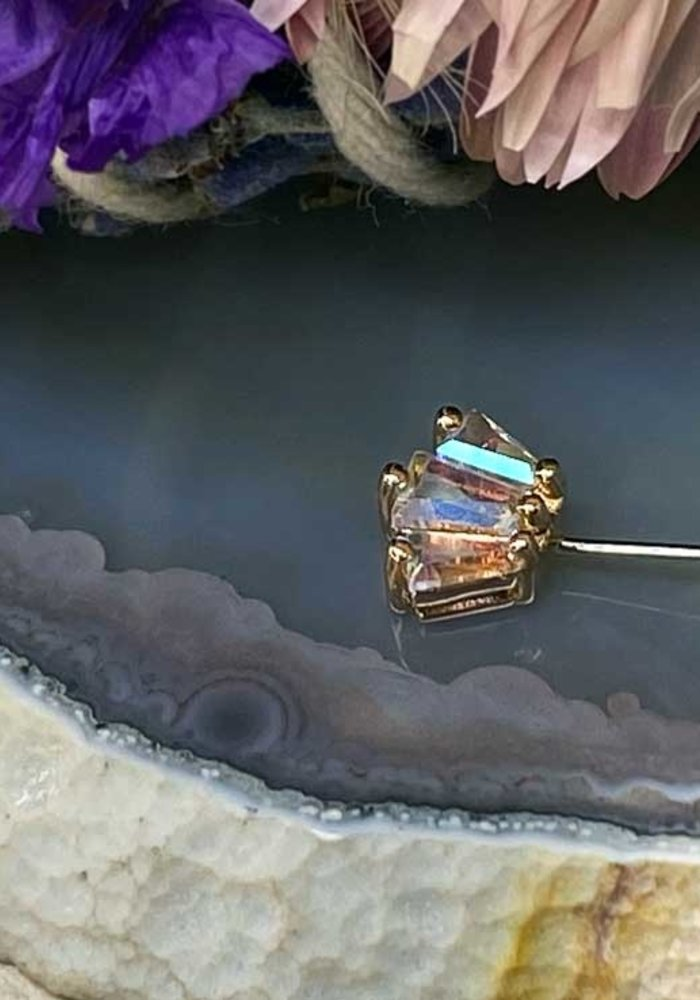 Buddha Jewelry Organics Gemma Trio Rose Gold with Mercury Mist Forward Facing Threadless