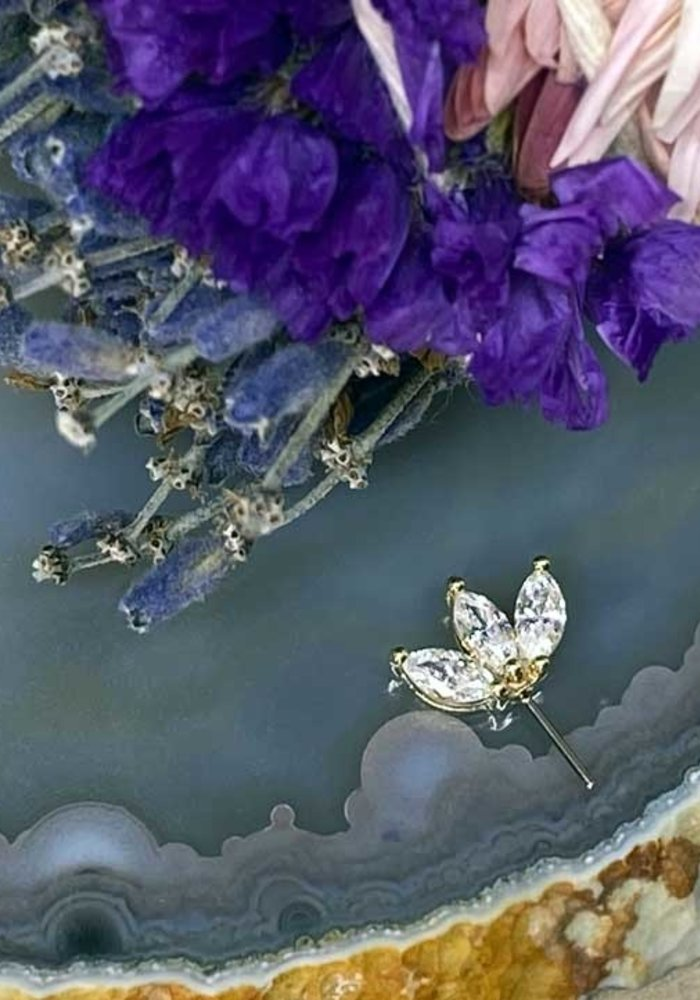 Buddha Jewelry Organics Moet Yellow Gold with CZ Forward Facing Threadless