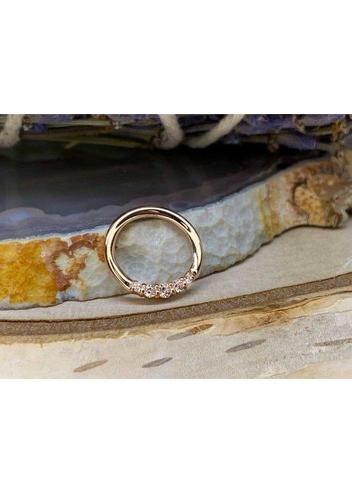 "Buddha Jewelry Organics Buddha Jewelry Organics Sophia Rose Gold with White CZ 16g 5/16"" Seam Ring"