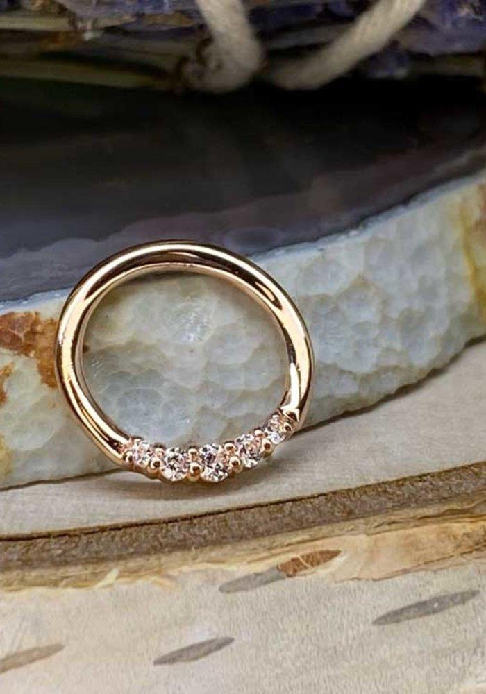 "Buddha Jewelry Organics Sophia Rose Gold with White CZ 16g 5/16"" Seam Ring"