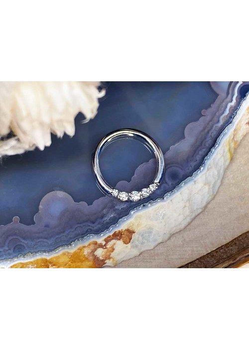 """Buddha Jewelry Organics Buddha Jewelry Organics Sophia White Gold with White CZ 16g 5/16"""" Seam Ring"""