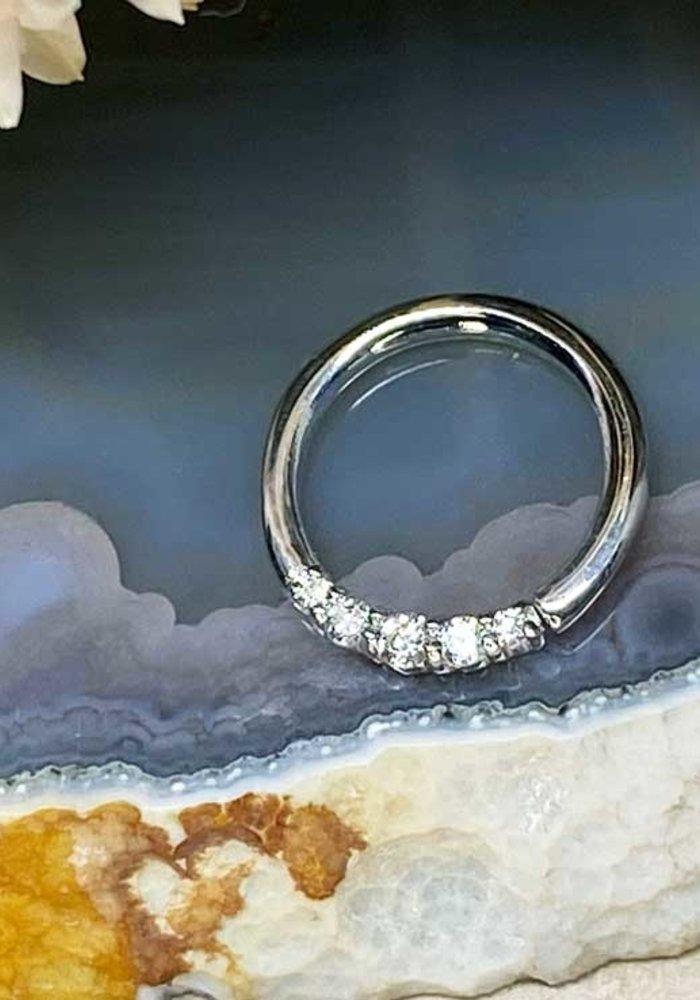 """Buddha Jewelry Organics Sophia White Gold with White CZ 16g 5/16"""" Seam Ring"""