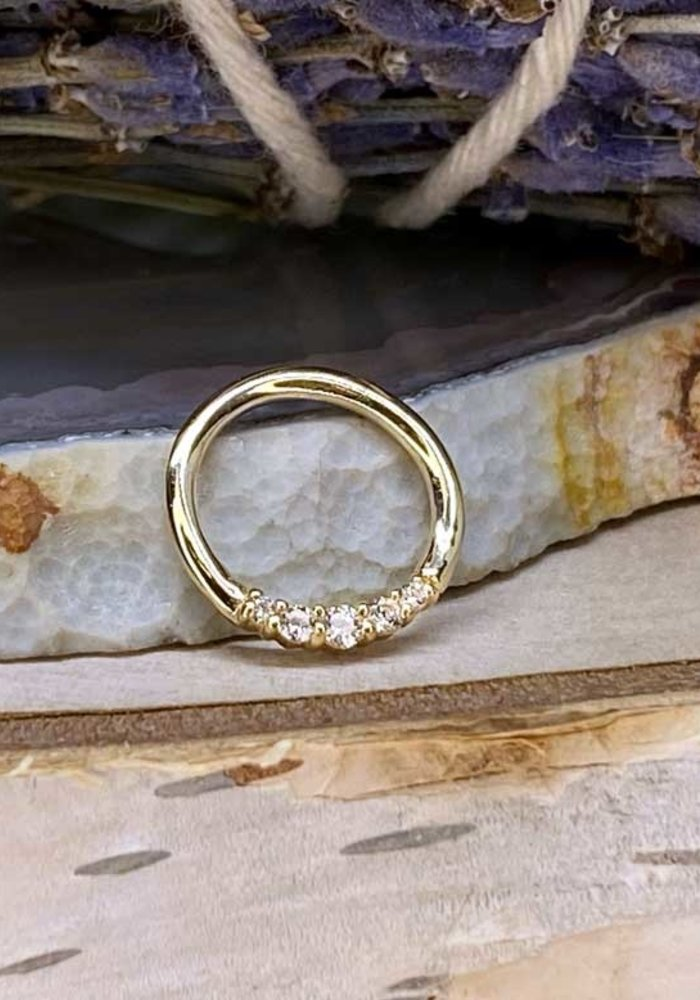 "Buddha Jewelry Organics Sophia Yellow Gold with White CZ 16g 5/16"" Seam Ring"