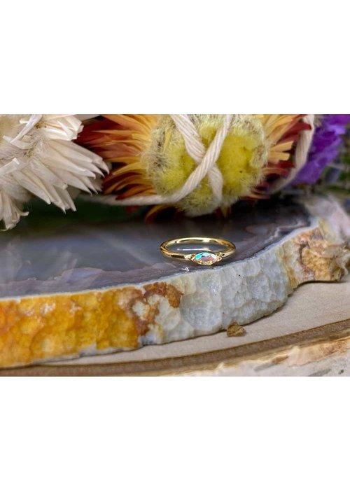 """Buddha Jewelry Organics Buddha Jewelry Organics Zuri Yellow Gold with Mercury Mist 18g 5/16"""" Seam Ring"""