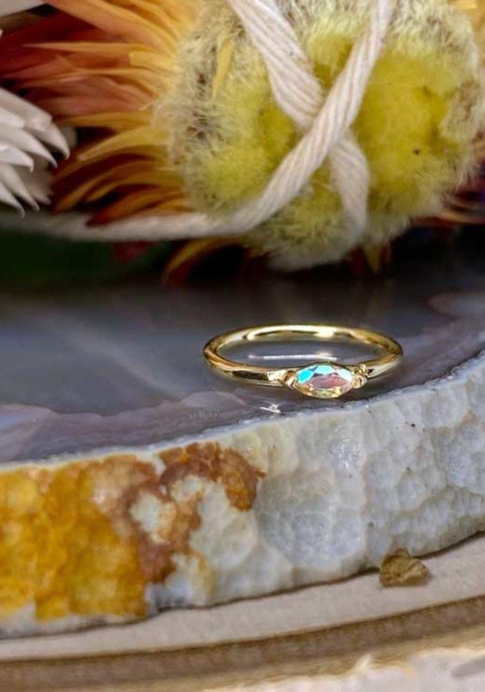 """Buddha Jewelry Organics Zuri Yellow Gold with Mercury Mist 18g 5/16"""" Seam Ring"""