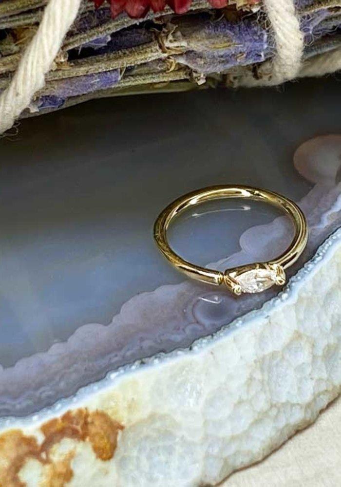 """Buddha Jewelry Organics Zuri Yellow Gold with White CZ 18g 5/16"""" Seam Ring"""