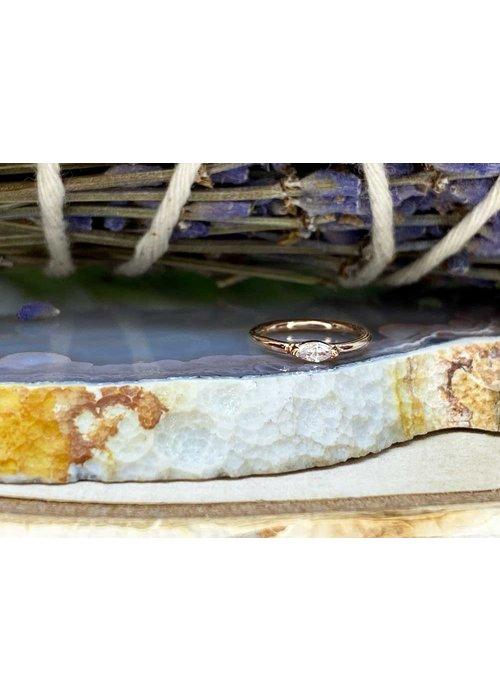 "Buddha Jewelry Organics Buddha Jewelry Organics Zuri Rose Gold with White CZ 18g 5/16"" Seam Ring"