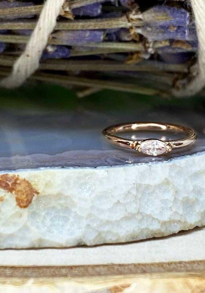 """Buddha Jewelry Organics Zuri Rose Gold with White CZ 18g 5/16"""" Seam Ring"""